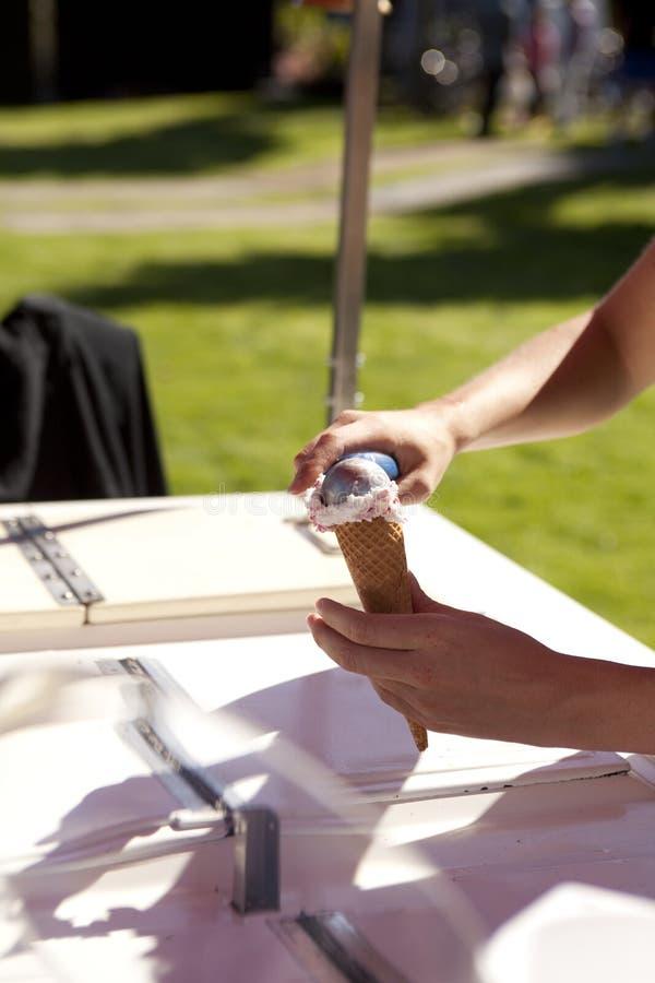 Italian ice cream in cone stock images
