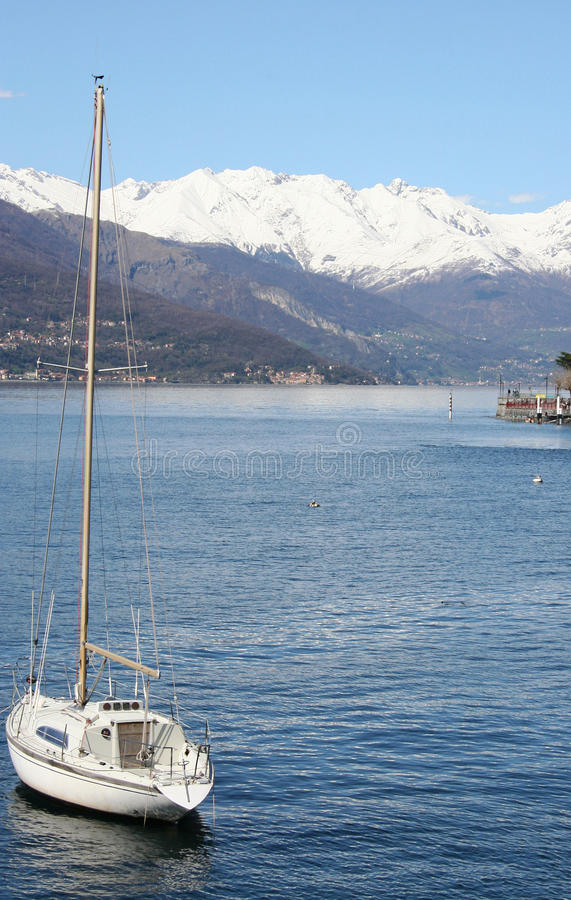 Italian lake and mountains stock photography
