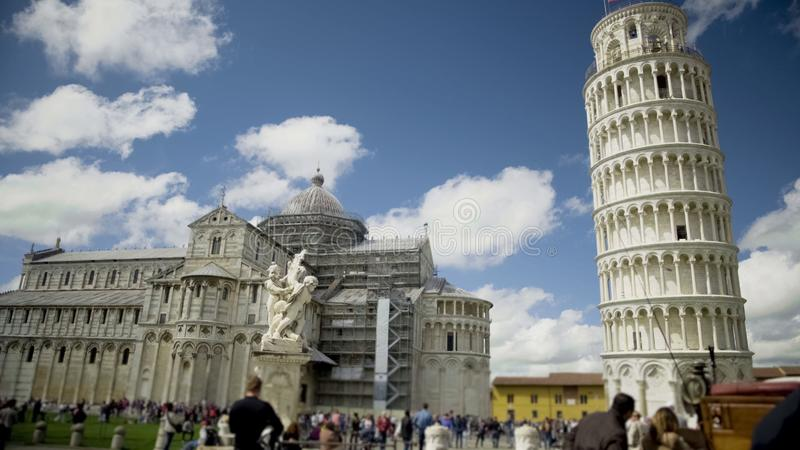 Italian landmarks, Fountain with Angels, cathedral and Leaning Tower of Pisa stock image