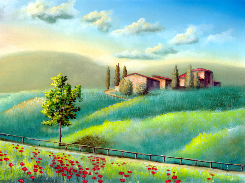 Italian landscape. Farmland in Tuscany, Italy. My original hand painted illustration royalty free illustration