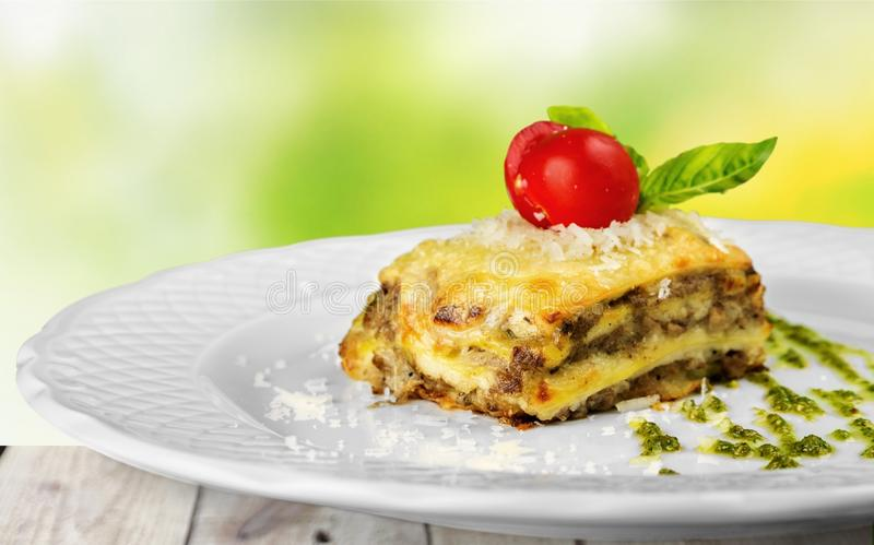 Italian lasagna on plate stock photos