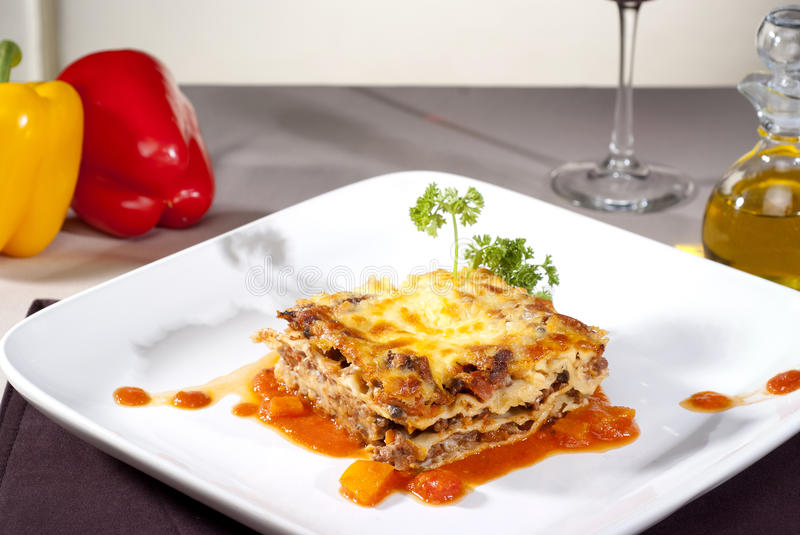 Italian lasagna on a plate royalty free stock photo