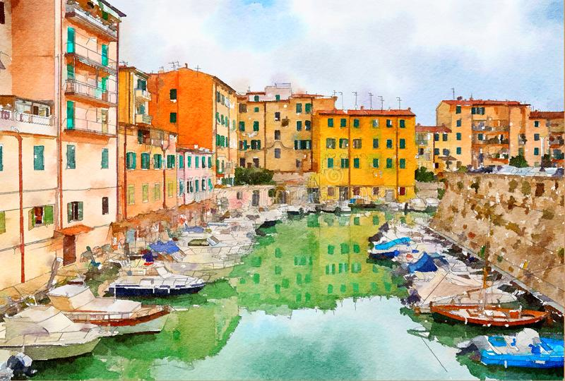 Watercolor style, city life stock illustration