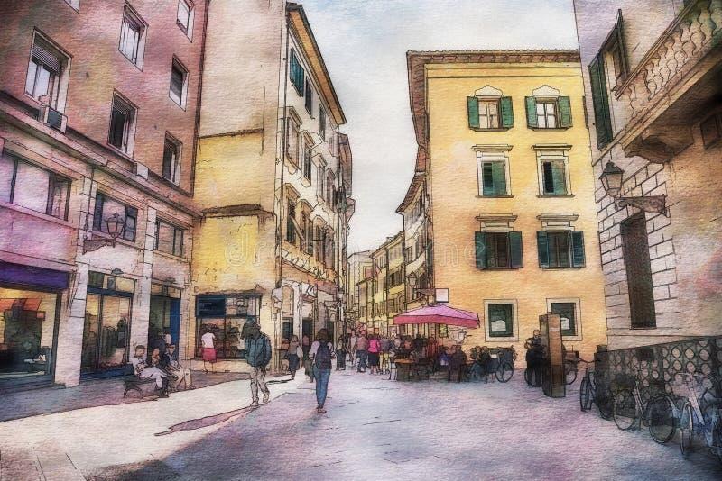 Italian life in watercolor style stock illustration