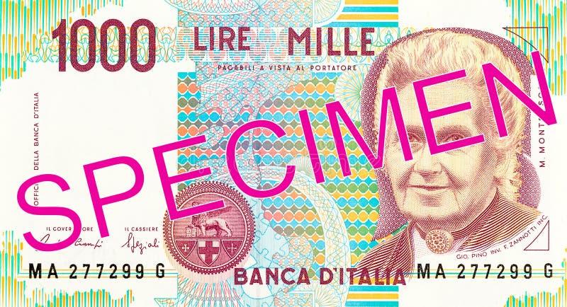 1000 italian lira bank note obverse. Specimen royalty free stock images