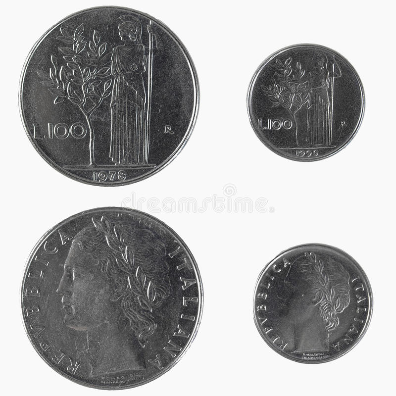 100 Italian liras coin. Standard size and small 1990 emission royalty free stock photos