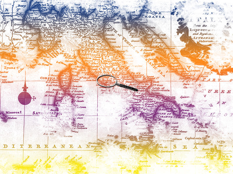 Italian map. Image of an ancient map of the italia with colors rainbow and situated lens on the capital rome royalty free illustration
