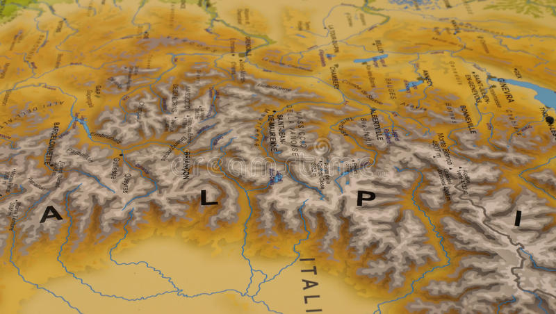 Italian map with Alps stock photo. Image of chart, closeup - 80033624