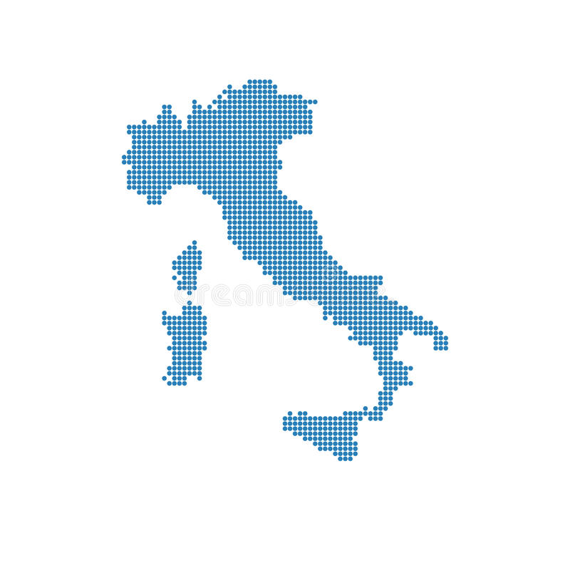 Italian map isolated. Italy dotted blue map stock images