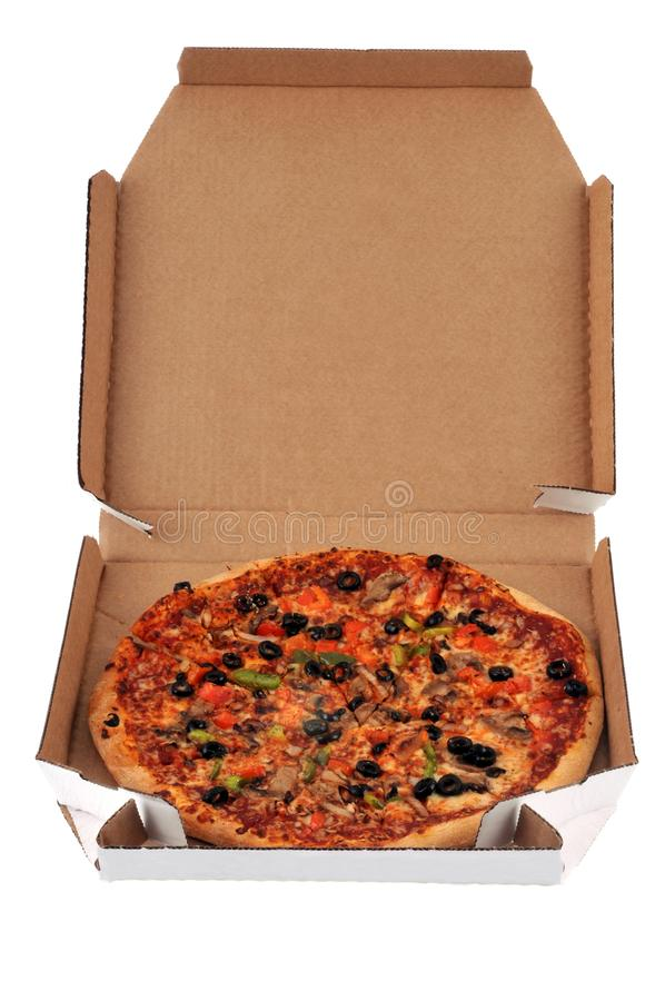 Pizza delivered in a cardboard box on a white background stock photos
