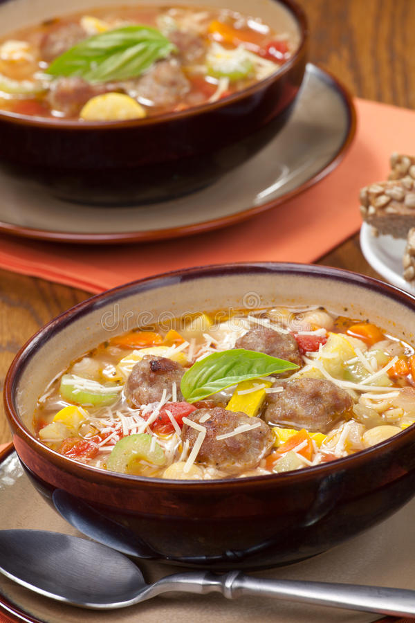 Italian Meatball Soup stock images