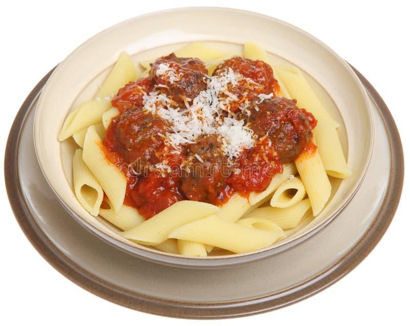 Italian Meatballs and Pasta stock photography