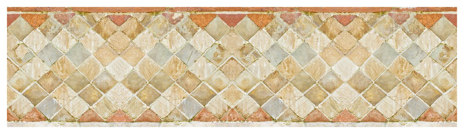 Italian medieval brick and stone wall in Latin called -opus incertum- with stones and bricks - seamless pattern.  royalty free stock photos