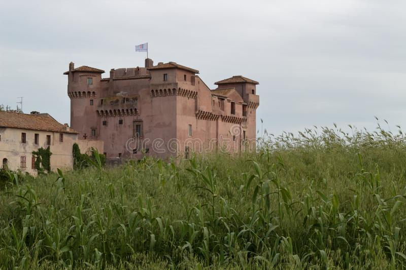 Italian medieval castle of the fourteenth and sixteenth centuries stock photo