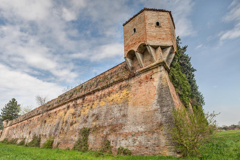 Italian medieval city wall. The medieval city wall with corner turret in the ancient town Terra del Sole, Forli, Emilia Romagna, Italy stock photos