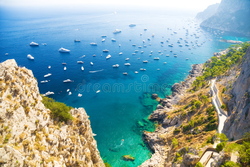 Italian Mediterranean sea coast stock images
