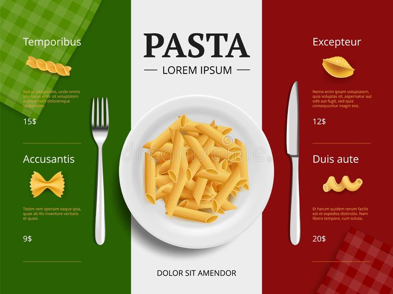 Italian menu cover. Pasta on plate delicious restaurant food macaroni spaghetti cooking ingredients vector placard. Template top view. Italian macaroni stock illustration