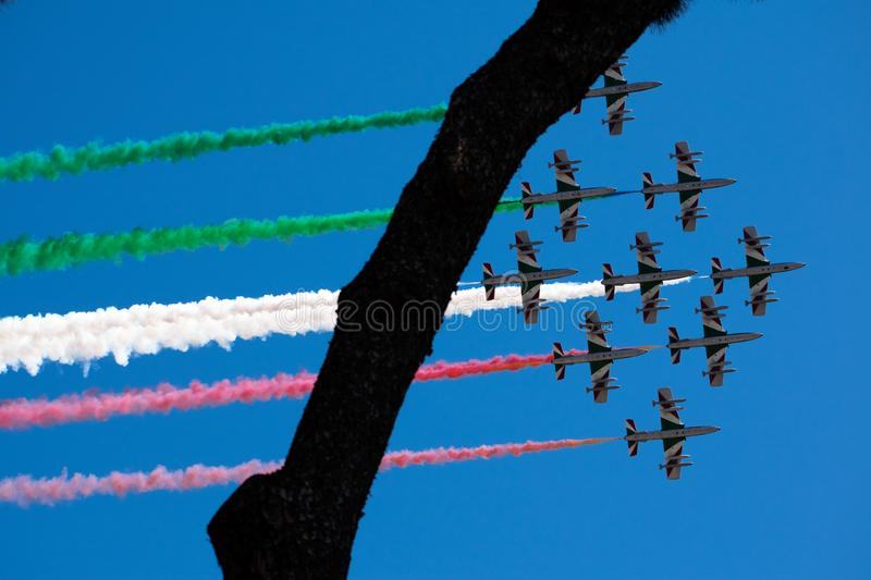 Italian military air patrol of the Frecce Tricolori performs during the Republic Day on June 2 in Rome stock photos