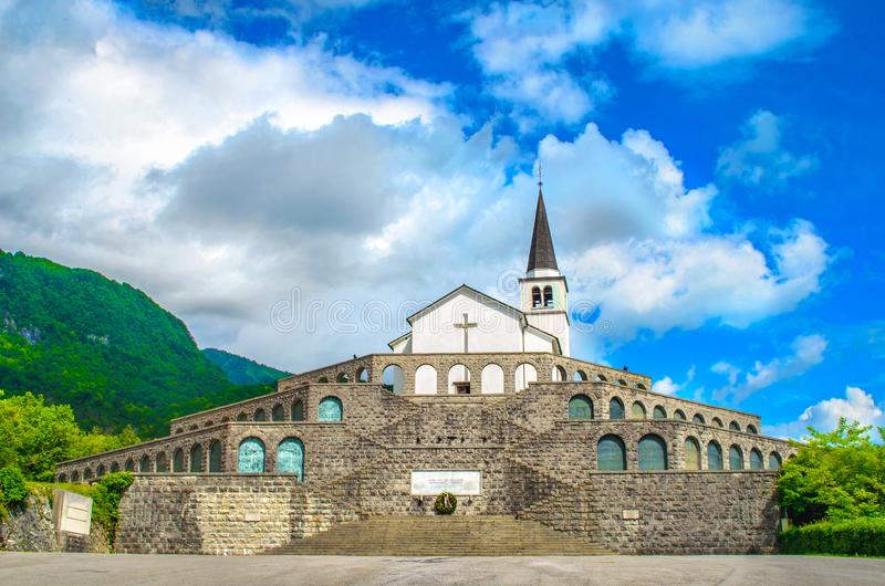 The italian military memorial in Caporetto or Kobarid in Slovenia, a World War I landmark in Europe.  royalty free stock photography
