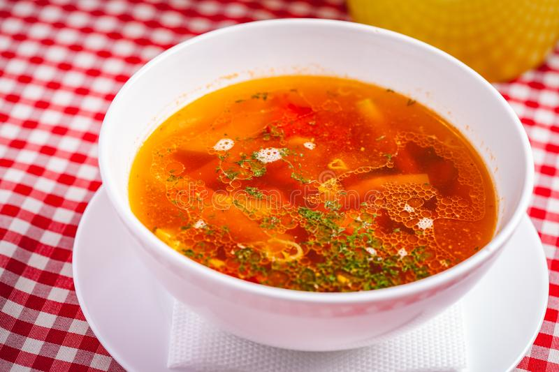 Italian minestrone soup with pasta and vegetables. Close up royalty free stock photography