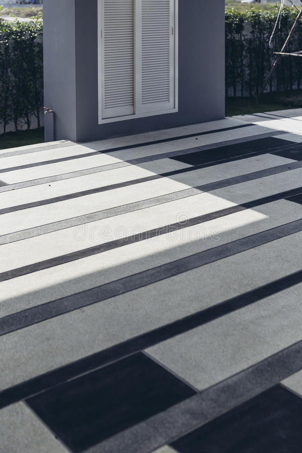 Italian Modern Model House : Outdoor Floor Tile with Blue, Grey and White Pattern.  stock photos