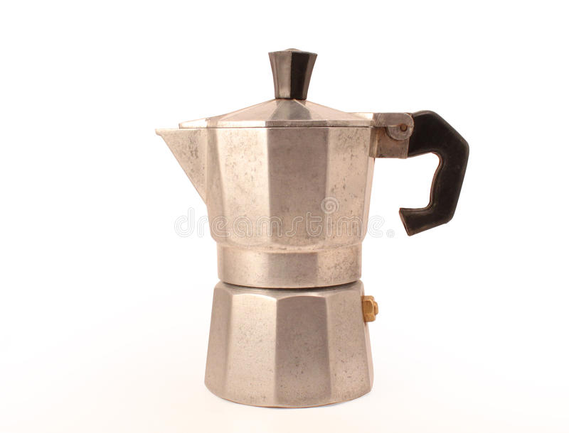 Italian Moka, the original kettle for coffee. Kettle for coffee worn isolated on a white background royalty free stock images