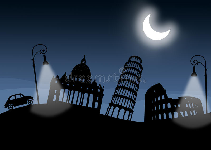 Italian monuments, italy. Night. Moon and lamps illuminated. Old car. Silhouette of the main Italian monuments. Night scene with large moon and Roman lamps stock illustration