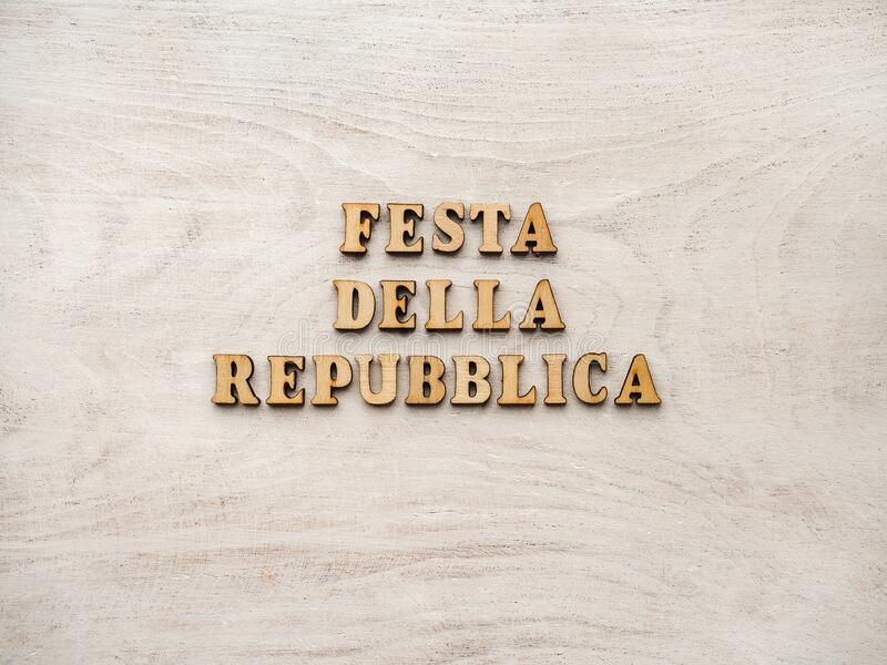 Italian National Day. Festa della Repubblica Italiana. Beautiful greeting card. Close-up, view from above. National holiday concept. Congratulations for family stock photos