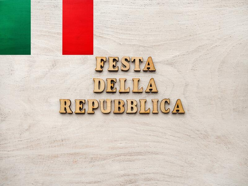 Italian National Day. Festa della Repubblica Italiana. Beautiful greeting card. Close-up, view from above. National holiday concept. Congratulations for family royalty free stock photography