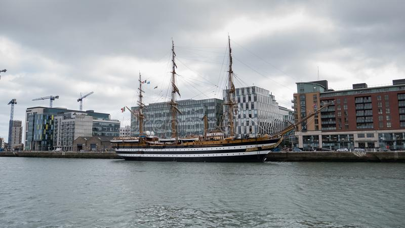 Italian Navy training ship Amerigo Vespucci berthed in Dublin, Ireland royalty free stock photography