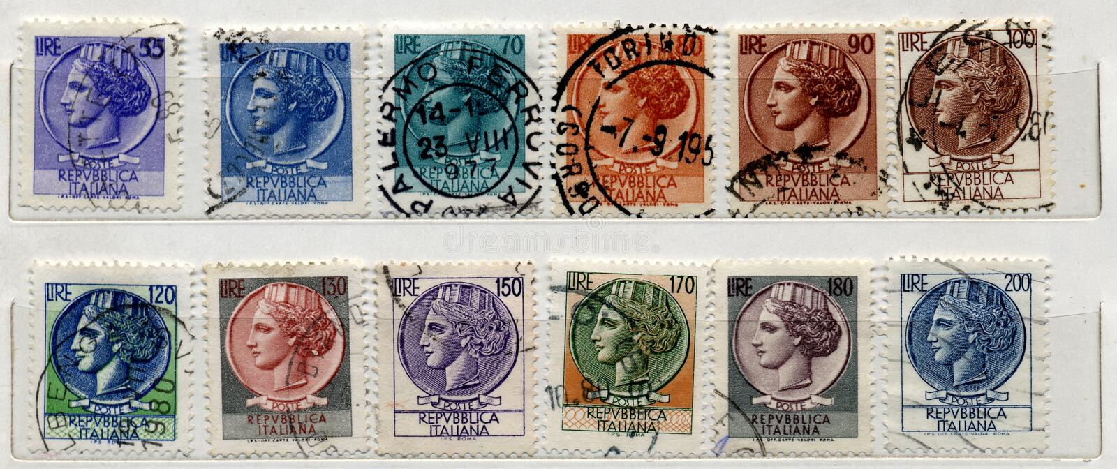 Download Italian old Stamps stock image. Image of ancient, range - 7465339
