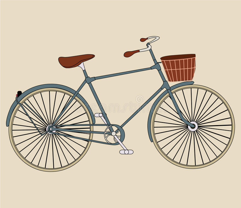 Italian old-style retro bicycle on background. vector illustration