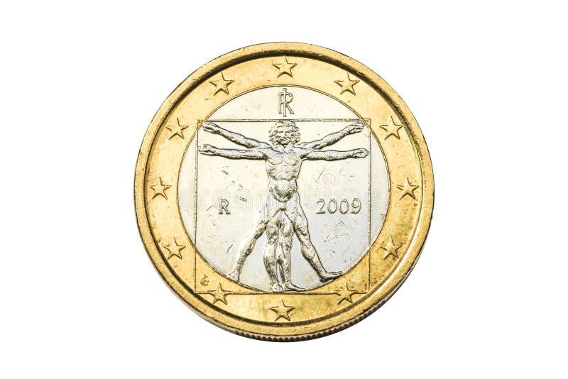 Italian one euro coin stock photos