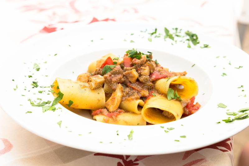 Italian Paccheri pasta with Swordfish royalty free stock photo