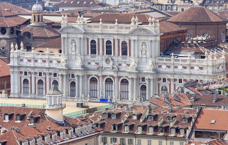 Italian Palazzo Carignano in Turin, Aosta Valley. View at the rear facade of the Palazzo Carignano in Turin from the Mole Antonelliana. The 19th century rear stock image