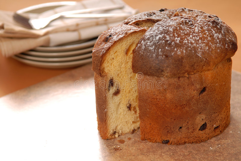Italian Panettone Christmas Bread stock photos