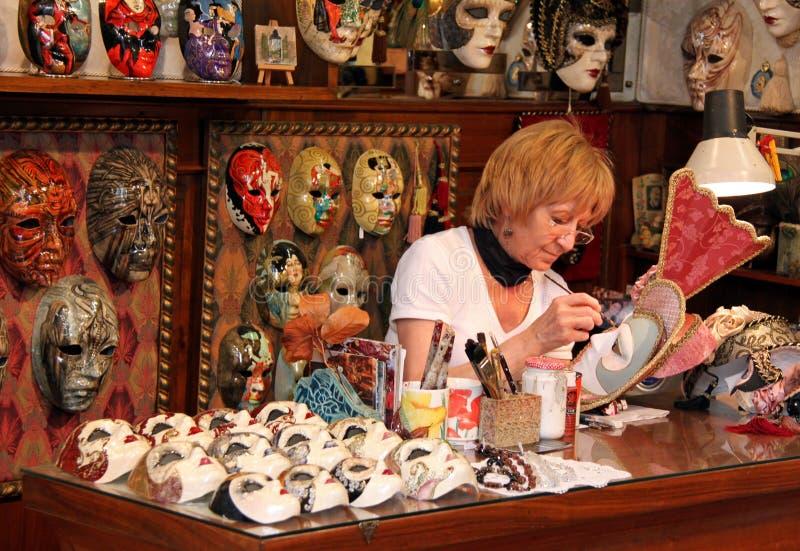 Italian papier mache mask maker stock photos