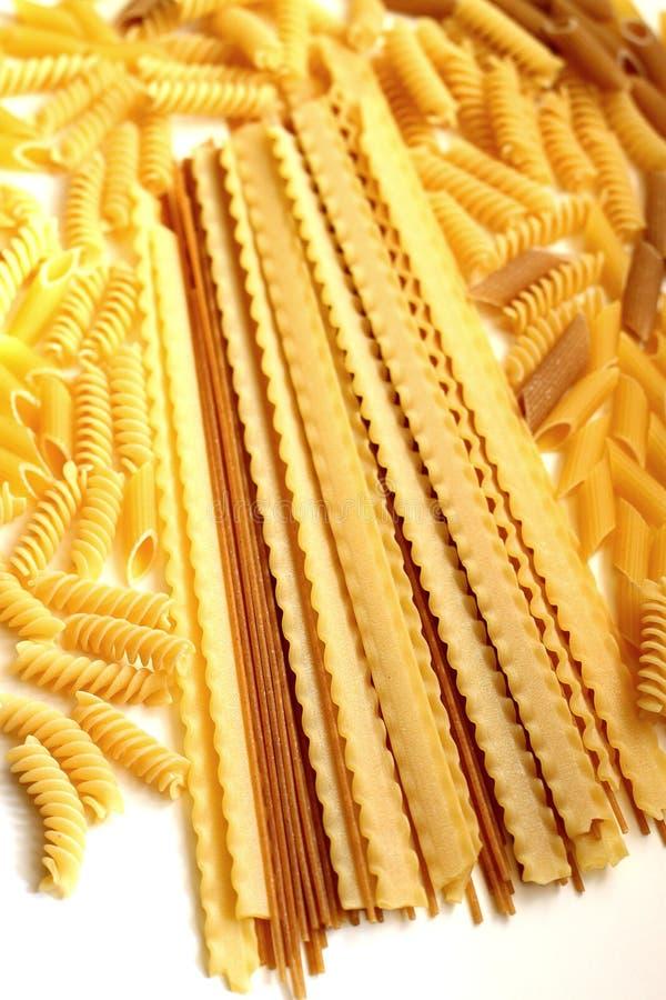 Italian pasta. Delicious raw italian pasta tipes royalty free stock photo