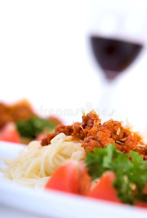 Italian pasta. With bolognese sauce royalty free stock photo
