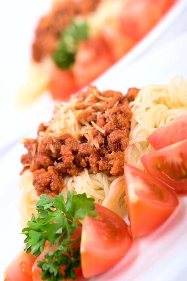 Italian pasta. With bolognese sauce stock photo