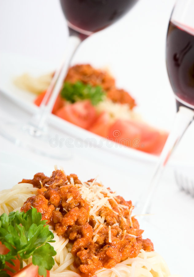 Italian pasta. With bolognese sauce with red wine stock photos