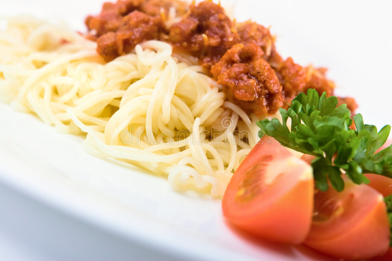 Italian pasta. With bolognese sauce royalty free stock image