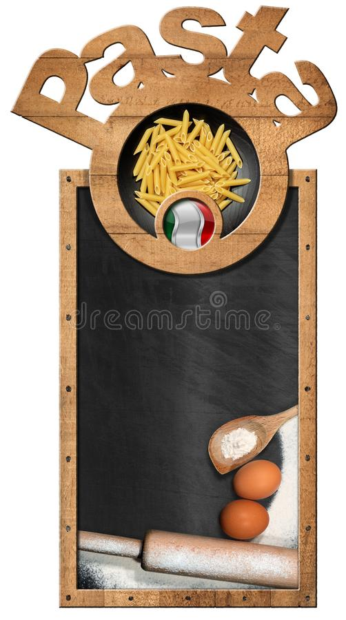 Italian Pasta on a blackboard with copy space stock image