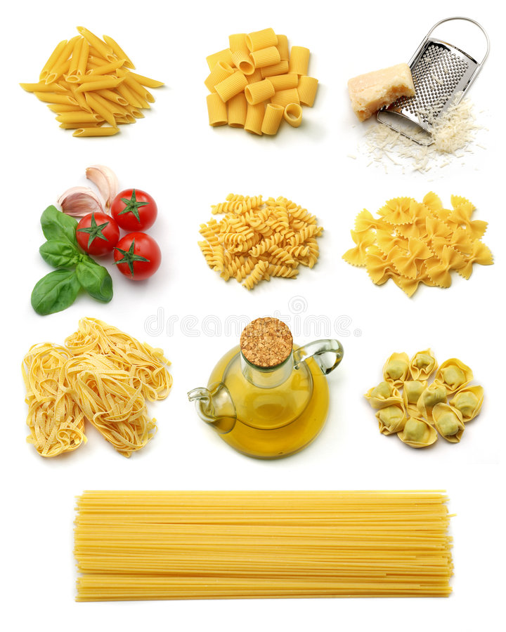 Italian pasta collection. Different italian pasta and typical seasoning isolated over white royalty free stock photos