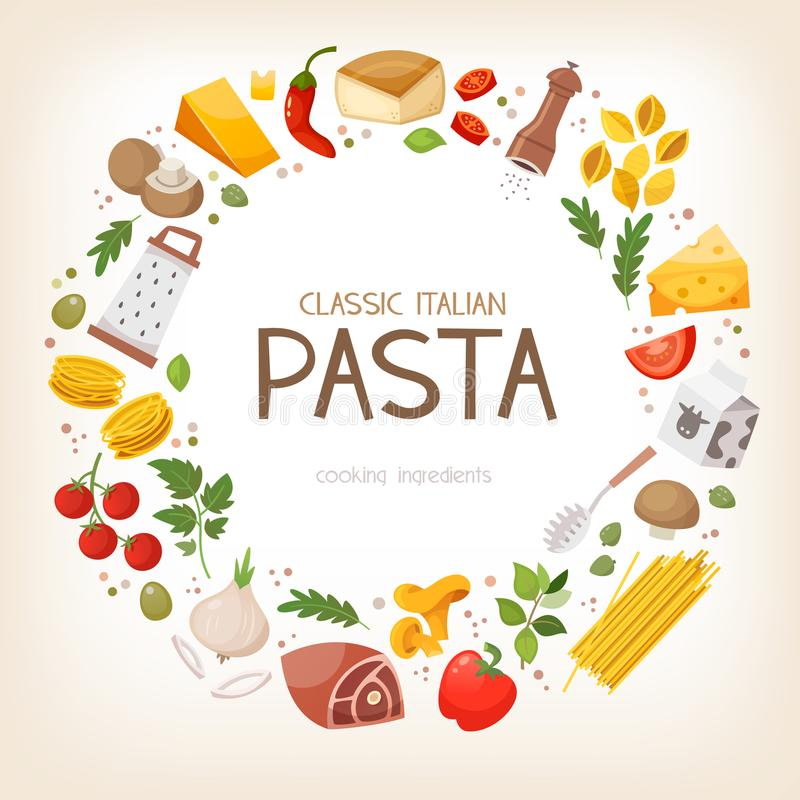 Italian pasta cooking ingredients in circle royalty free illustration