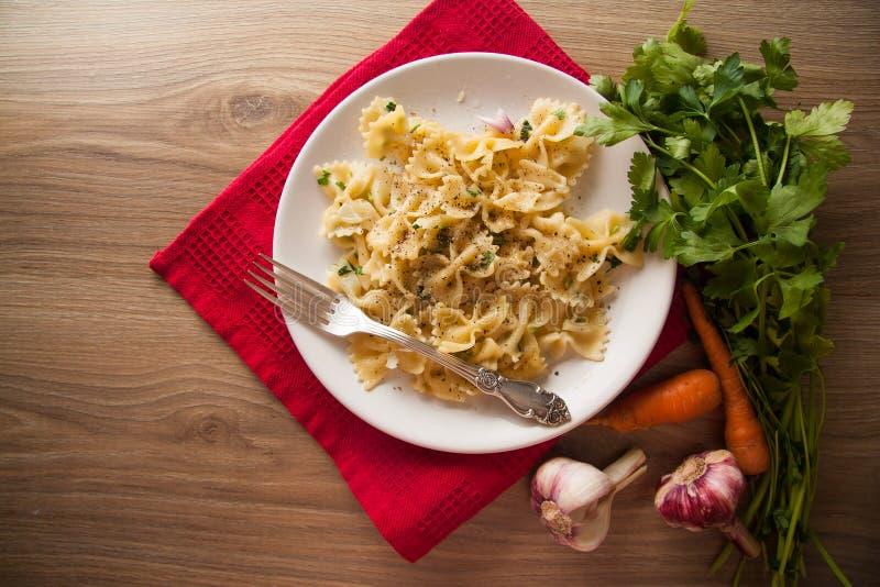 Italian pasta farfalle stock photo