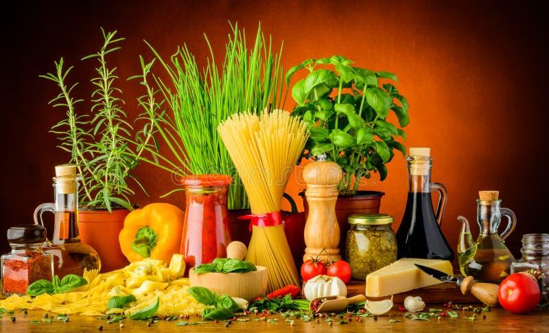 Italian pasta ingredients royalty free stock photography