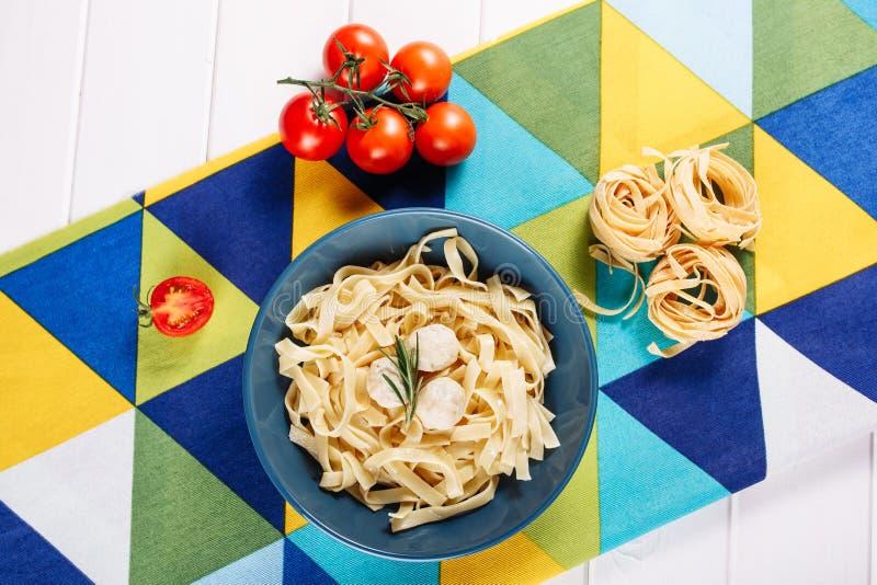 Italian Pasta Meatballs Dinner Cuisine Flat Lay royalty free stock photos