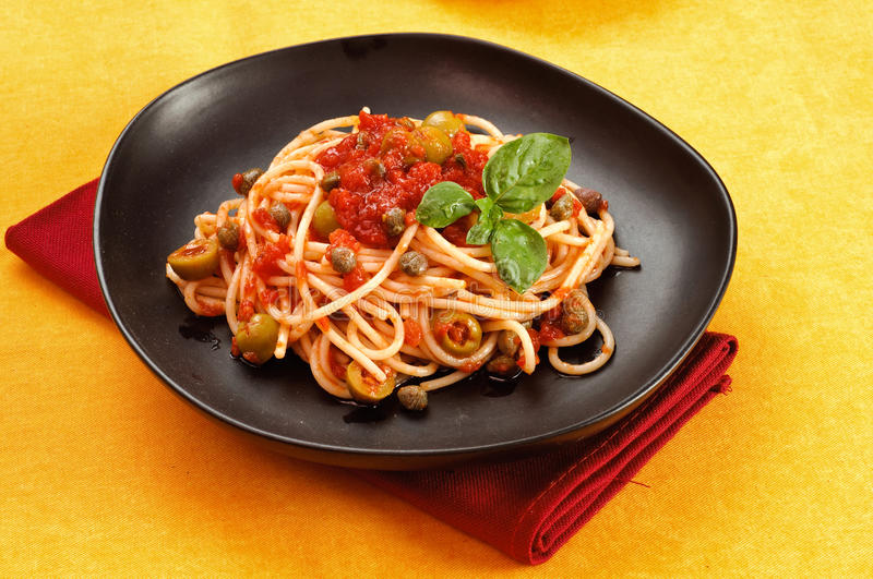 Download Italian Pasta With Olives And Capers Royalty Free Stock Images - Image: 25602589