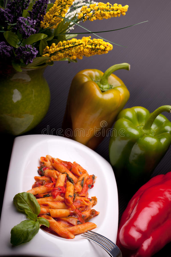 Italian Pasta With Peppers Sauce stock images